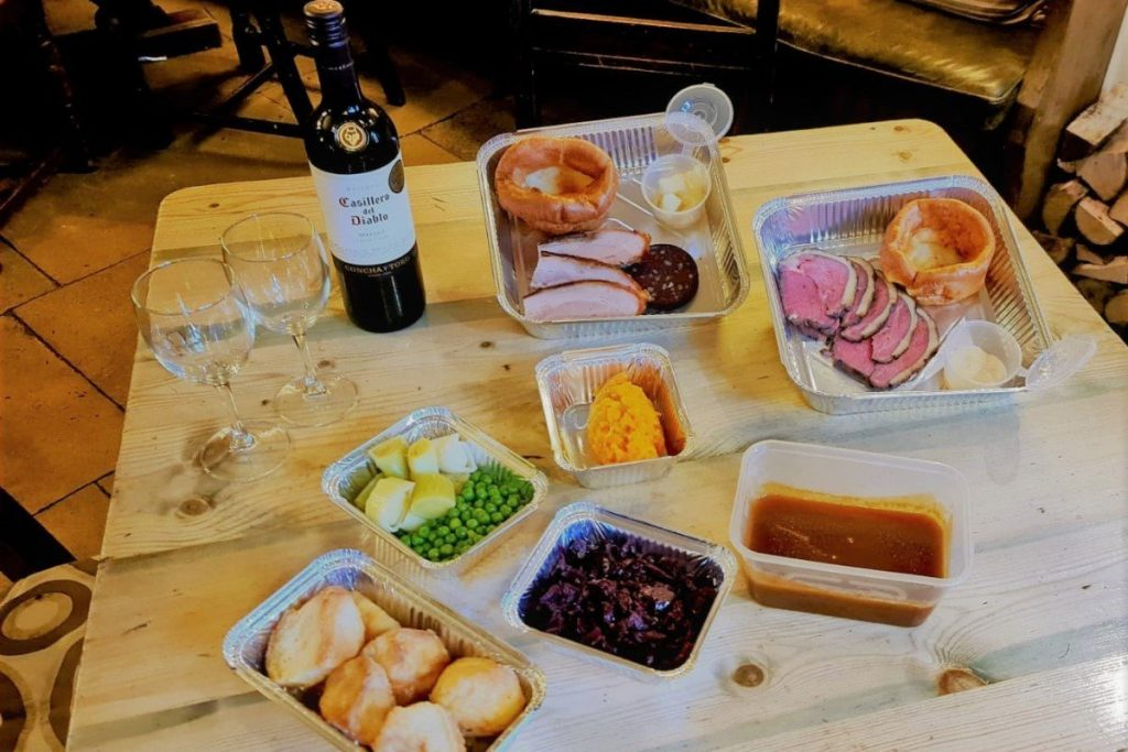 Sunday roast takeaway from The White Hart of Wytham