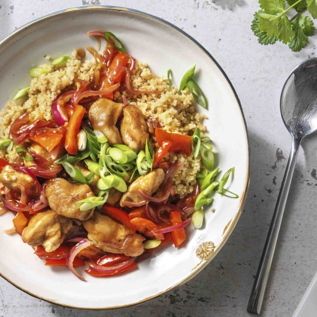 Sweet and Sour Style Chicken Recipe with Bulgur Wheat