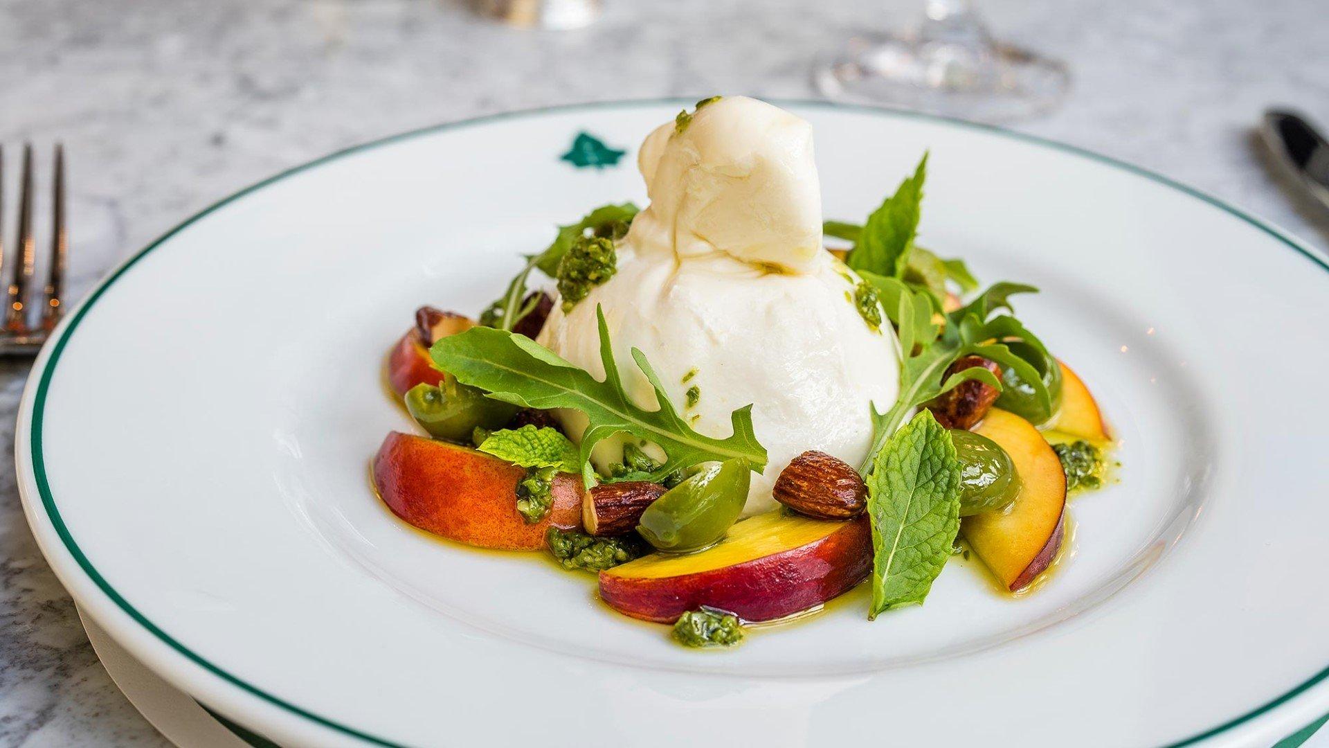 The Ivy Brasserie - Burrata with Nocellara Olive Pesto Rocket and Almonds
