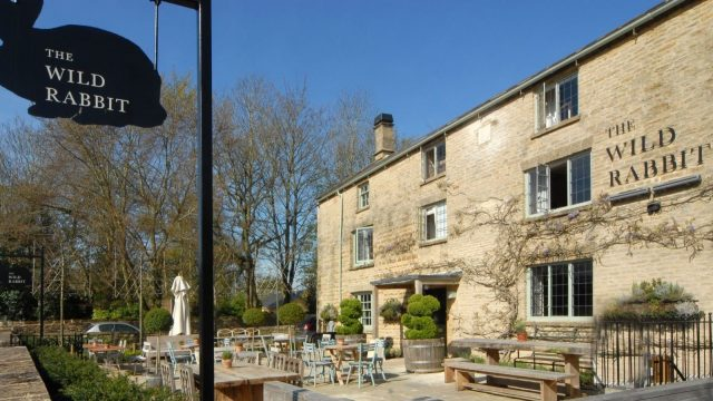 Exterior of The Wild Rabbit, Kingham, Oxfordshire, Pub with Room
