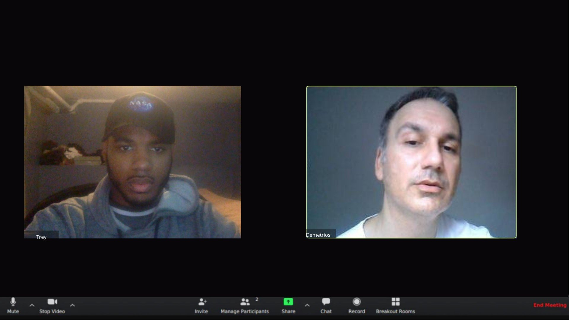 Treyvonce and Demetrios (SQUARE HALO) video-calling and working remotely on 'The Lyme Years' album