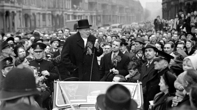 Blenheim Palace has received £1.8m Culture Recovery Fund for Heritage grant. Image features Sir Winston Churchill speaking at Blythe Road, Hammersmith, London, when he made an eve of poll tour to address the crowds on behalf of the Conservatives.