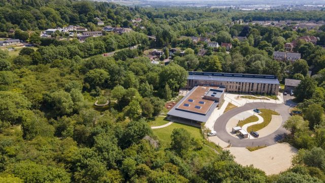 DJS Antibodies moves to newly converted lab space at The Oxford Trust's Wood Centre for Innovation. Image shows aerial view of the Wood Centre for Innovation in Headington's Global Health & Life Sciences District.